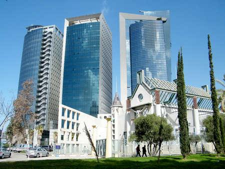 azrieli center: Skyscrapers and cypress in Tel Aviv, Israel