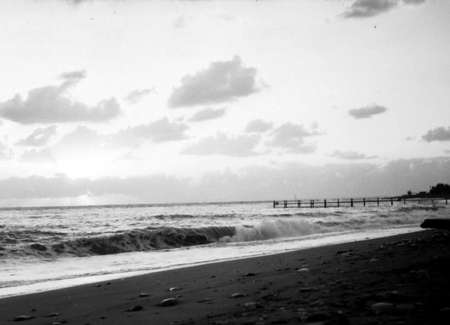 stadia: Old black and white photo: Wharf on shore of Black Sea near Southern Culture Park in Adler, Russia
