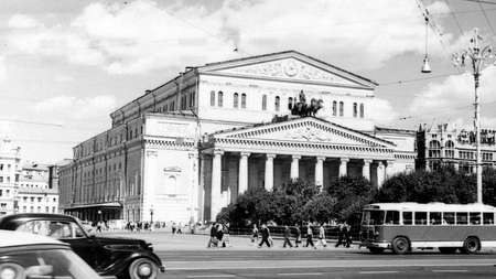 Old black and white photo: View of Bolshoi Theatre in Moscow, Russia