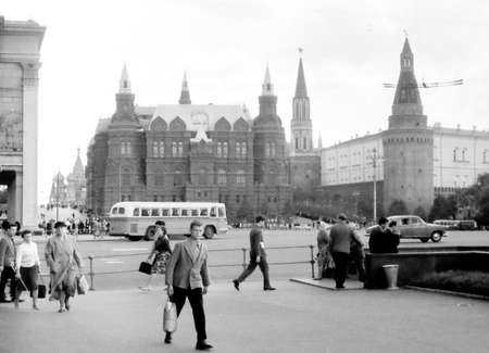 Old black and white photo: View to Historical Museum in Moscow, Russia