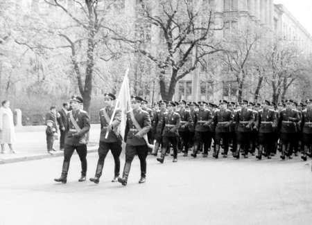 Old black and white photo: May Day military parade in 1964 in Kiev, Ukraine