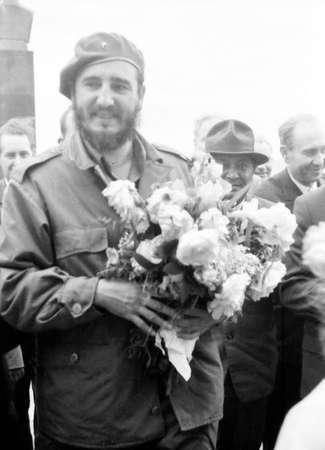 castro: Old black and white photo: The Fidel Castro Ruz in the May 1963 in Yangiyer, Uzbekistan