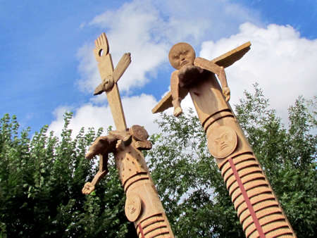 northwest indian art: American Indian totem poles on a street in Washington DC, USA