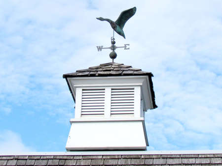 Duck weather vane on roof of house in St. Jacobs Village Ontario, Canada