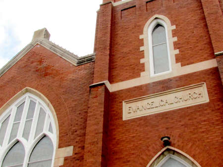 evangelical: Part of facade of the Evangelical Church in St. Jacobs Village Ontario, Canada Stock Photo
