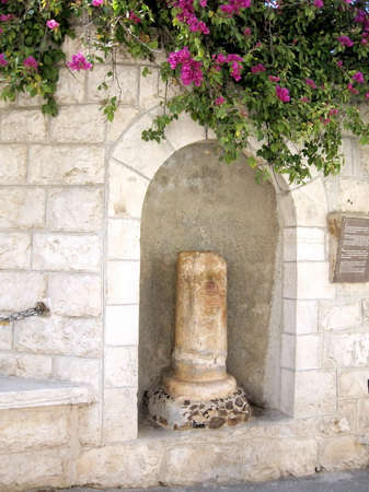 promised: The column of Kiss of Judas on mount of olives in Jerusalem, Israel Stock Photo