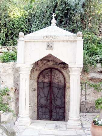 promised: Grotto of the Apostles on mount of olives in Jerusalem, Israel Stock Photo