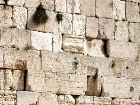 Ancient stones of Western Wall in Jerusalem, Israel
