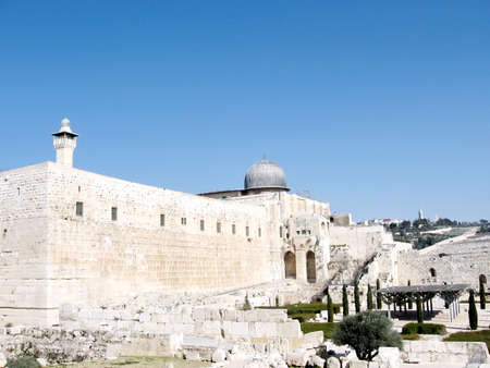 Panorama of Al-Aqsa Mosque in Jerusalem, Israel