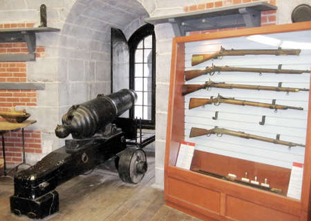 kingston: Historic weapon in the Murney Tower in Kingston on the Lake Ontario, Canada Editorial