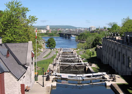 rideau canal: Rideau Canal Locks on the background of River in Ottawa, Canada