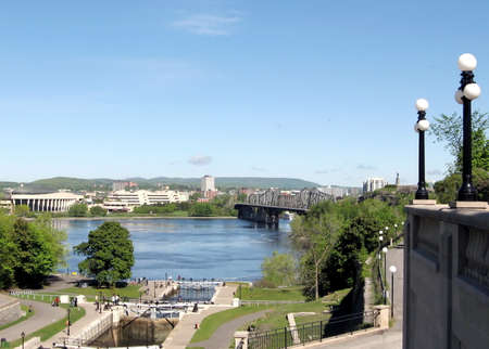 rideau canal: The Rideau Canal Locks and River in Ottawa, Canada