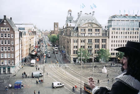 dam square: View to Dam Square from Museum Madame Tussauds in Amsterdam, Netherlands
