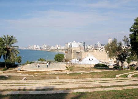 jafo: Amphitheatre on the background of Tel Aviv in old Jaffa,Israel