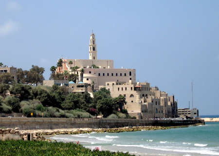 yaffo: The view to Jaffa from Tel Aviv in Israel Stock Photo