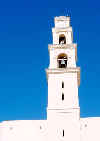 Tower of St. Peters Church in old city Jaffa, Israel photo