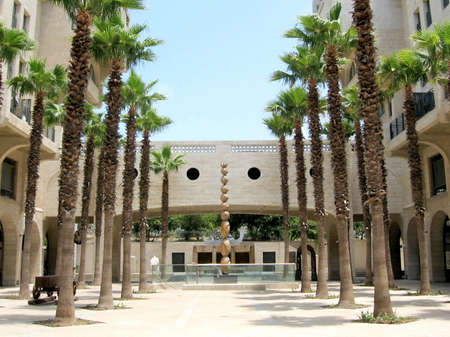 yafo: Palm trees and sculpture on Yerushalayim Avenue in Jaffa, Israel