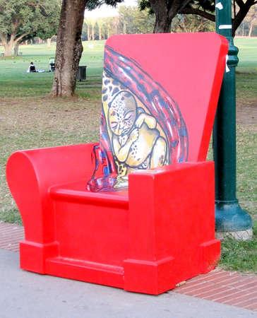 Big red chair in park in Ramat Gan, Israel