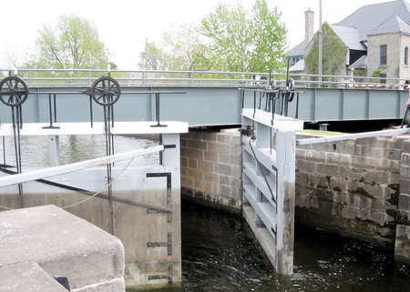 rideau canal: The lock on the Rideau Canal in Merrickville of Ontario, Canada Stock Photo