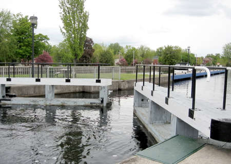 rideau canal: The Lock on the Rideau Canal in Smiths Falls in Ontario, Canada Stock Photo