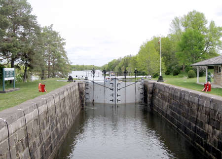 rideau canal: The lock on Rideau Canal in Nicolls Island in Ontario, Canada