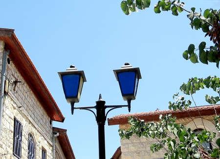 kabbalah: Blue Street lanterns in Old City Safed,Israel