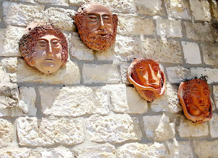 kabbalah: Ceramic masks in Old City Safed,Israel