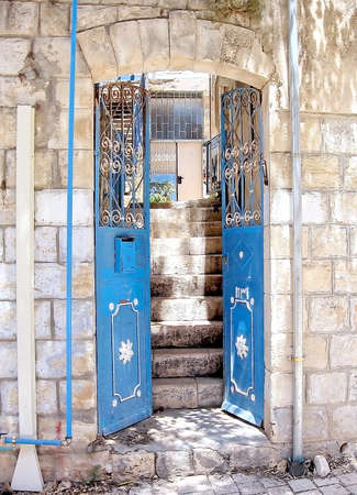 kabbalah: Entrance of old house in Safed,Israel