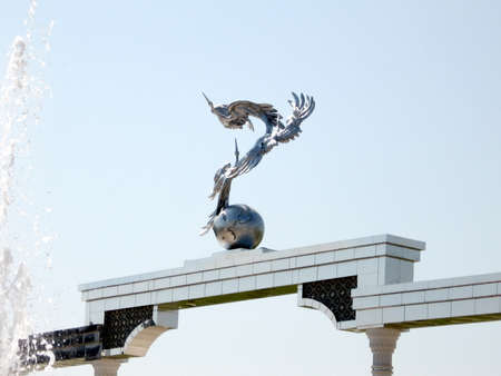 The Ezgulik Arch on Independence Square in the city of Tashkent, the capital of Uzbekistan Stok Fotoğraf