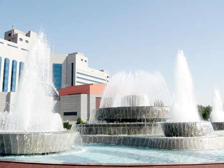 The fountains on Yunusabad Square in Tashkent, the capital of Uzbekistan