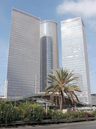 Geometry of Azrieli Towers in Tel Aviv, Israel Editorial