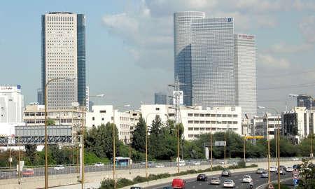 azrieli: Azrieli Towers from La Guardia Bridge in Tel Aviv, Israel Stock Photo