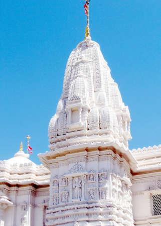 shri: Spire of Hindu temple Shri Swaminarayan Mandir in Toronto, Canada