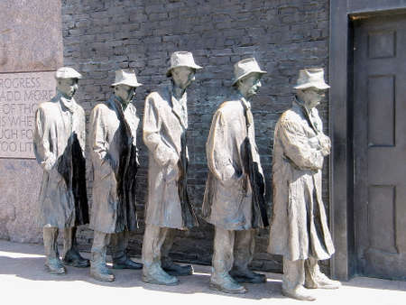 delano: Unemployed workers at the Franklin Delano Roosevelt Memorial in Washington DC Editorial