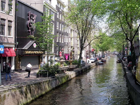 gabled house: Canal and typical houses in Amsterdam, Netherlands