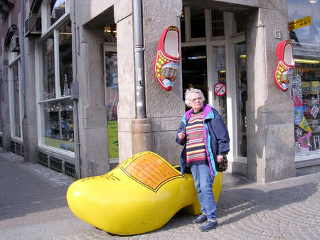 wooden shoes: Wooden shoes near Dam Square in Amsterdam, Netherlands Editorial