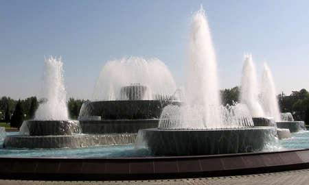 Fountains of Yunusabad square in the city of Tashkent, the capital of Uzbekistan