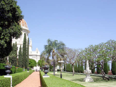baha: The beautiful alleya of Bahai Gardens in Haifa, Israel