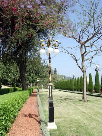 bahaullah: The alleya of Bahai Gardens in Haifa, Israel