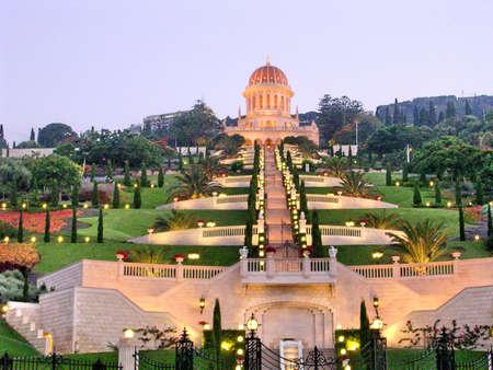 bahaullah: View to Bahai Gardens and Shrine of Bab night in Haifa, Israel