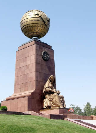 Mother Statue and Monument of Independence in the Independence Square in Tashkent
