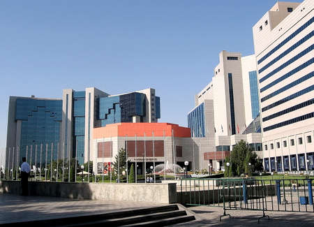 Yunusabad square in the city of Tashkent, the capital of Uzbekistan