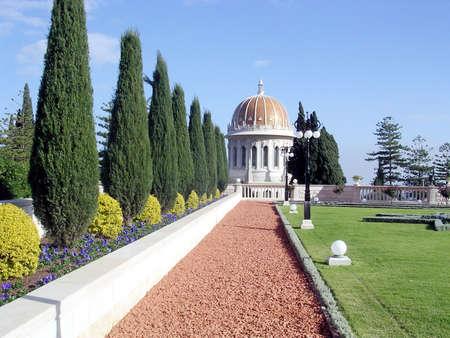 bahaullah: Cypresses and Shrine of Bab in Bahai Gardens in Haifa, Israel