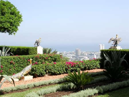 bahaullah: Metal birds in Bahai Gardens in Haifa, Israel