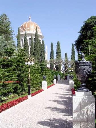 bahaullah: Walkway in Bahai Gardens in Haifa, Israel