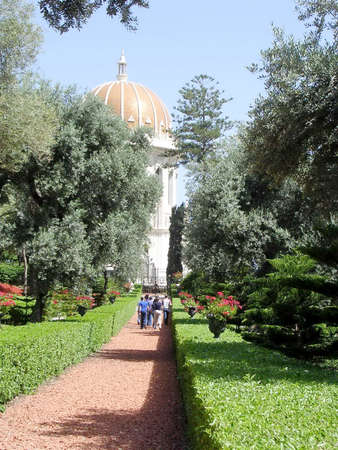 bahaullah: Walkway to the Shrine of Bab in Bahai Gardens in Haifa, Israel Editorial