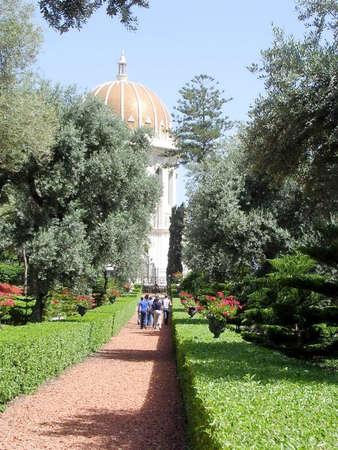 bahaullah: Walkway to the Shrine of Bab in Bahai Gardens in Haifa, Israel Editorial