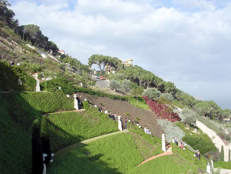 baha: The Upper Terraces of Bahai Gardens in Haifa, Israel