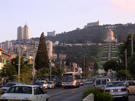 bab: Ben Gurion ave and Shrine of Bab in Bahai Gardens early evening in Haifa, Israel
