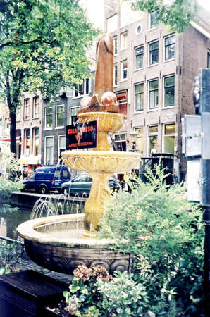 durability: The very very original fountain in Amsterdam, Netherlands Stock Photo